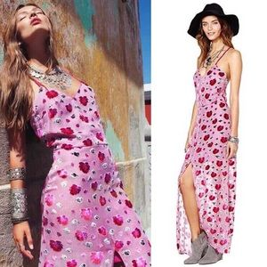 For Love and Lemons Silk Pink Rose Maxi Dress